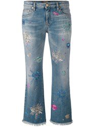 Roberto Cavalli Light Wash Cropped Jeans Women Cotton Polyester Spandex Elastane 40 Blue