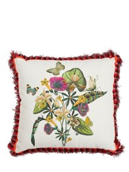 Etro Jacaranda Printed Cotton And Linen Pillow Multicolor