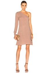 Ryan Roche Fwrd Exclusive One Shoulder Sweater Dress In Brown