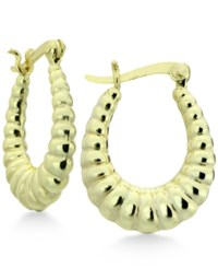 Giani Bernini Shrimp Stamp Oval Hoop Earrings In 18K Gold Plated Sterling Silver Only At Macy's