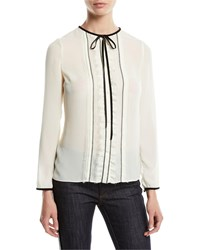 Red Valentino Long Sleeve Georgette Tie Neck Blouse Ivory Black