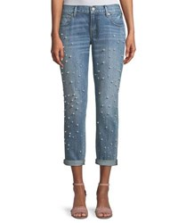 True Religion Cameron Straight Leg Boyfriend Style Jeans With Pearly Beads Blue