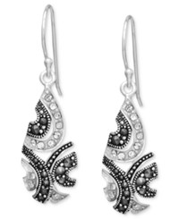 Genevieve And Grace Sterling Silver Earrings Marcasite And Crystal Teardrop Earrings