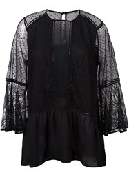 Perseverance Semi Sheer Flared Blouse Black