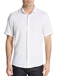 Report Collection Regular Fit Linen Cotton Slub Sportshirt White