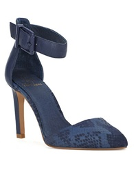 Elliott Lucca Chiara Leather Ankle Strap Pumps Blue Exotic