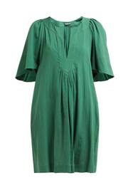 Three Graces London Prudence Cotton Cheesecloth Dress Green