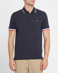 Ben Sherman Navy Colour Contrast Pique Polo Shirt Blue