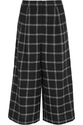Tibi Edie Checked Wool Blend Culottes Black
