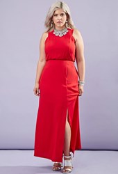 Forever 21 Plus Size High Slit Maxi Dress Red
