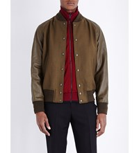 Coach Civilian Leather And Wool Blend Varsity Jacket Olive