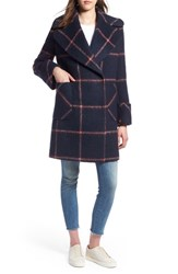 Kendall Kylie Oversize Collar Coat Navy Plaid