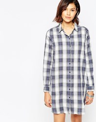 Only Checked Shirt Dress White