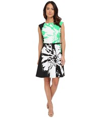 Christin Michaels Millfiori Flower Dress Green Black Women's Dress