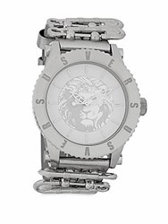 Versus By Versace Stainless Steel Leather Strap Watch Silver