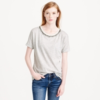 J.Crew Jeweled Roll Sleeve Tee