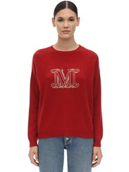 Max Mara Intarsia Logo Cashmere Knit Sweater Red