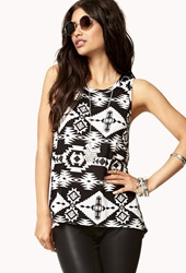 Forever 21 Tribal Print High Low Tank Black Cream