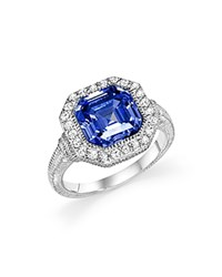 Judith Ripka Sterling Silver Asscher Ring With Lab Created Blue Corundum And White Sapphire Blue White