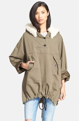 Smythe Faux Shearling Trim Pullover Anorak Army W Faux Shearling