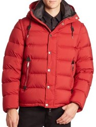 Burberry Down Filled Detachable Sleeve Hooded Jacket Parade Red