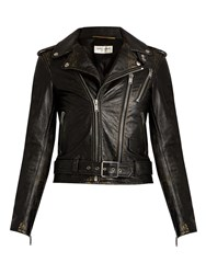 Saint Laurent L171 Distressed Leather Jacket Black Multi