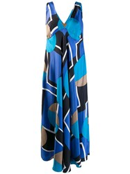 Gianfranco Ferre Vintage 2000'S Geometric Pattern Maxi Dress Blue