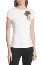 Ted Baker London Laylar Kirstenbosch Embroidered Tee Ivory