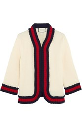 Gucci Ruffle Trimmed Ribbed Wool Cardigan Cream