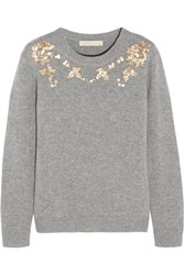 Vanessa Bruno Gosta Sequin Embellished Wool And Cashmere Blend Sweater Gray