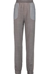 See By Chloe Paneled Twill Slim Leg Pants Dark Gray