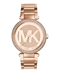 Mid Size Rose Golden Stainless Steel Parker Chronograph Glitz Watch Michael Kors