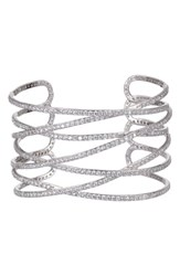 Nina Overlapping Sculptural Cuff Bracelet Silver White