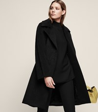 Reiss Cabe Cable Coat In Black