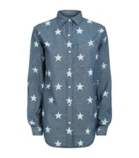 Denim And Supply Ralph Lauren Boyfriend Star Print Shirt Female Blue