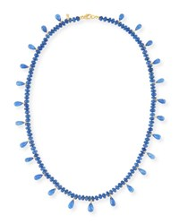 Splendid Company Smooth Blue Sapphire And Faceted Briolette Necklace