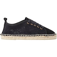 Manebi Women's Lace And Suede Espadrilles Black Blue Black Blue