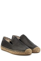 Ugg Australia Embossed Leather Sandrinne Espadrilles Black