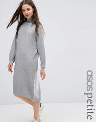 Asos Petite Midi Dress In Knit With High Neck Mid Grey