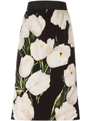 Dolce And Gabbana Tulip Print Pencil Skirt Black