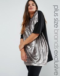 Daisy Street Plus Short Sleeve Jersey Top With Sequin Front Silver Gold