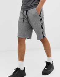 Hollister Side Tape Print Logo Sweat Shorts In Grey Marl