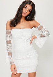 Missguided White Lace Bardot Flared Sleeve Bodycon Dress