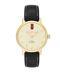 Kate Spade Night Owl Goldtone Stainless Steel And Black Leather Strap Watch