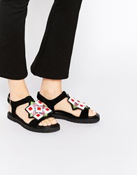 Kat Maconie Robin Multi Emroidered And Gem Flat Sandals Multi