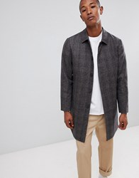 Selected Homme Recycled Wool Overcoat With Quilt Lining In Check Grey Check