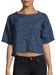 Calvin Klein Jeans Frayed Cotton Crop Top Indigo