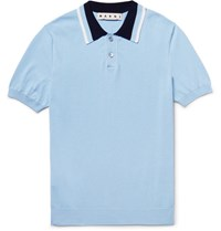 Marni Contrast Trimmed Knitted Cotton Polo Shirt Sky Blue