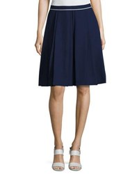 Pink Tartan Contrast Piping A Line Skirt Blue White