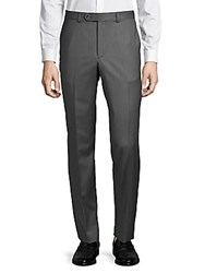 Saks Fifth Avenue Mid Rise Wool Trousers Grey